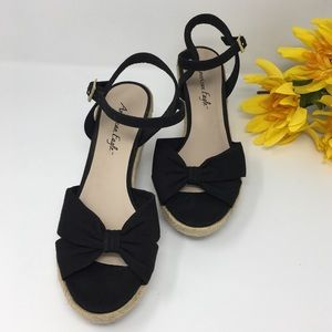 American Eagle Black Bow Espadrille Wedges